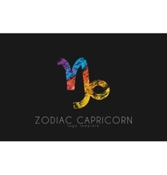 Zodiac capricorn logo sea-goat symbol zoiac sea vector