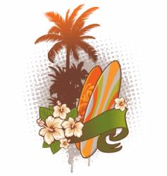 Surfboards hibiscus and palm trees vector