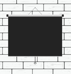 Projector screen on brick wall vector