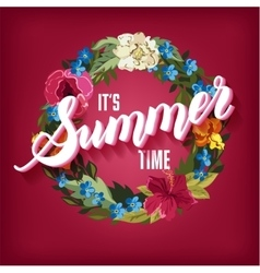 Summer time lettering background with floral vector