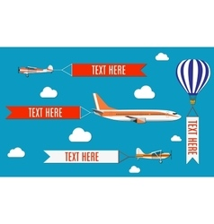 Aeroplane planes biplane and hot air balloon vector