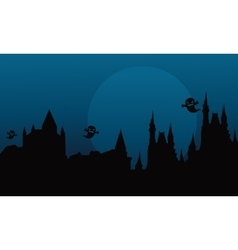 Silhouette of halloween castle and ghost vector