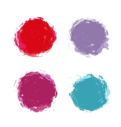 Abstract hand painted round stains set vector image