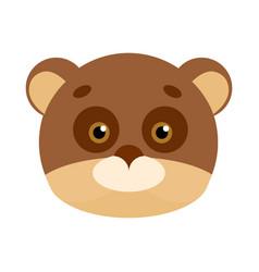 Bear animal carnival mask brown and beige teddy vector