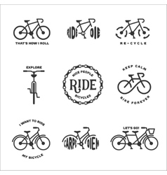 Bicycle related typography set vintage vector
