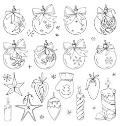 big set with vintage christmas decoration festive vector image vector image