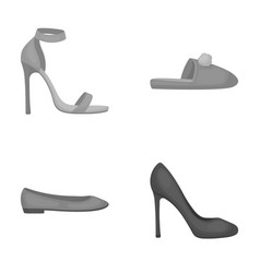 Blue high-heeled sandals homemade lilac slippers vector