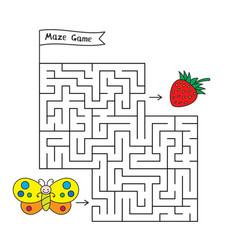 Cartoon butterfly maze game vector