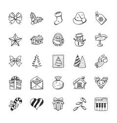 christmas doodles set vector image