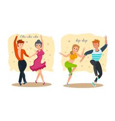 couples dance rhythmic cha-cha-cha and hip-hop vector image