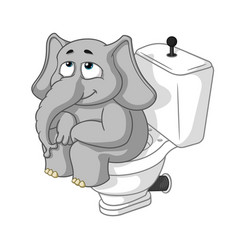elephant sitting on the toilet cartoon vector image vector image