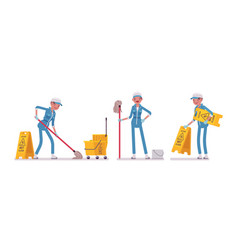 Female janitor mopping the floor vector