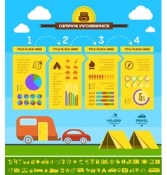 Flat camping infographic template vector