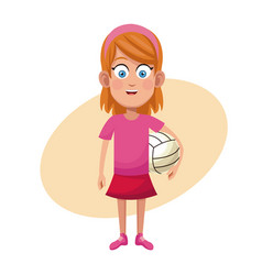 Girl volleyball sport practice vector