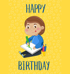 Happy birthday kids postcard template vector