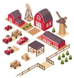 isometric farm elements vector image vector image