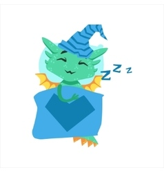 Little anime style baby dragon sleeping in bed vector