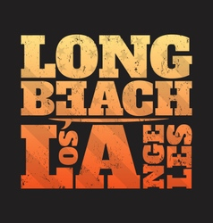 long beach la tee print with surfboard vector image vector image