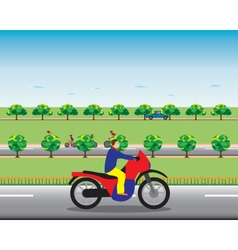 Man on a motorbike vector image vector image