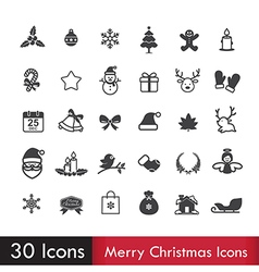 Merry christmas icons set isoleted on white vector image