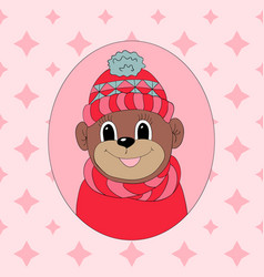 Monkey in a pink cap and scarf print for clothes vector