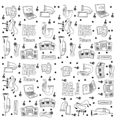 Music doodles on white backgrounds art vector image
