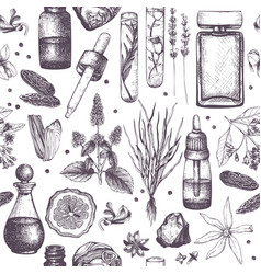 Organic and floral perfume ingredients background vector