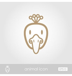 Peacock outline thin icon Animal head vector image vector image