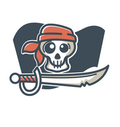 Pirate skull with saber vector