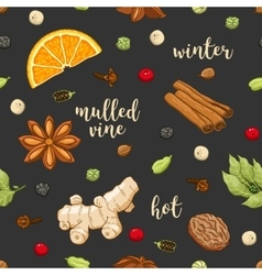 seamless pattern on dark with mulled wine vector image vector image