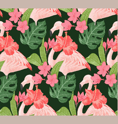 seamless pattern with flamingoes and flowers vector image vector image