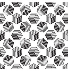 seamless pattern with line style isometric cubes vector image vector image