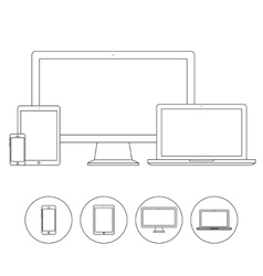 Set of electronic device outline icons vector