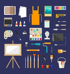 Set of Icons and in Flat Style Painting Tools and vector image