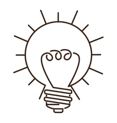 Silhouette light bulb flat icon in sun shape vector