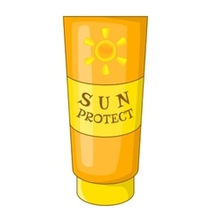 Sun lotion icon cartoon style vector