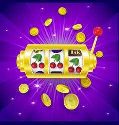three cherry signs on slot machine display banner vector image