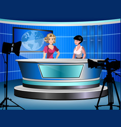 Two woman reporting tv news sitting in a studio vector