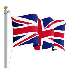 waving united kingdom flag uk flag isolated on a vector image