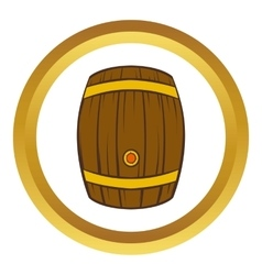 Wooden barrel of beer icon cartoon style vector