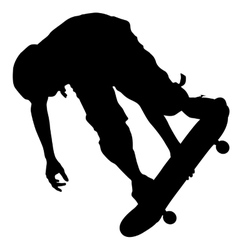 Silhouettes a skateboarder performs jumping vector
