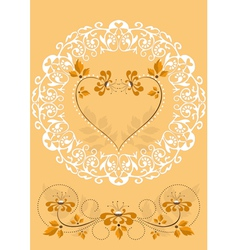 Openwork frame with orange flowers and hearts vector image
