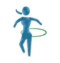 Drawing colored silhouette woman physical exercise vector