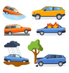 Car crash collision traffic insurance safety vector