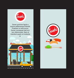 Sushi vertical flyers with shop building vector