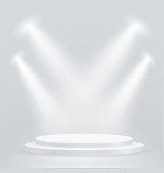 Bright podium with projectors layout vector