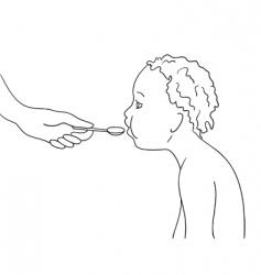 kids eating vector image