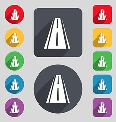 Road icon sign a set of 12 colored buttons and a vector