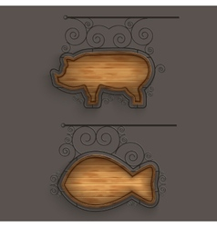 Illuminated set of wooden signboards vector