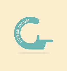 Logo hand letter c pointing gesture hands vector